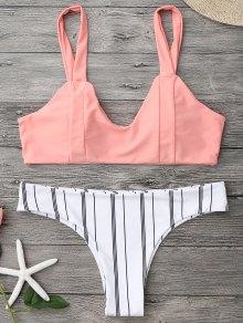 Padded Striped Bralette Bikini Set - Orangepink M