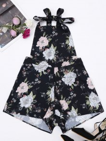 Backless Floral Pinafore Romper