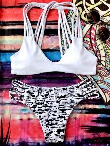 Sprinkle Imprimir Strappy Conjunto De Bikini Bralette - Blanco Y Negro L
