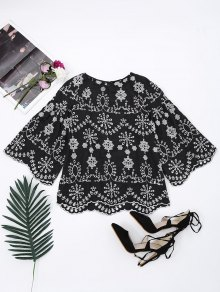 Flare Sleeve Embroidered Cut Out Blouse - Black