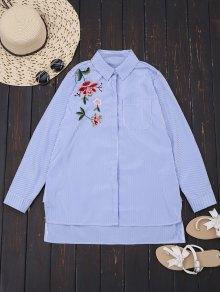 Chemise basse rayée à rayures florales