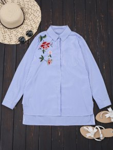 Floral Embroidered Stripes High Low Shirt