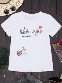 Cotton Cute Embroidered T-Shirt - White