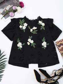 Embroidered Back Bowknot Cut Out Top - Black M