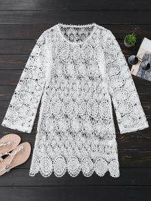 Sheer Lace Long Sleeve Beach Dress - White
