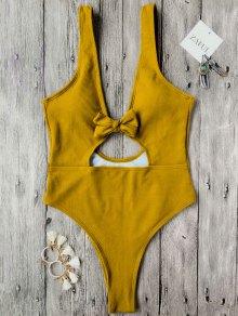 Bowknot Textured High Cut One Piece Swimsuit - Mustard