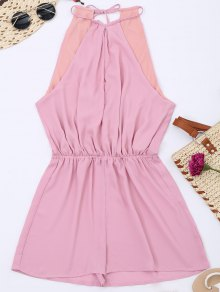 Keyhole High Neck Cut Out Romper - Pink 2xl