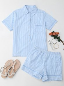 Striped Pocket Shirt with Shorts Loungewear