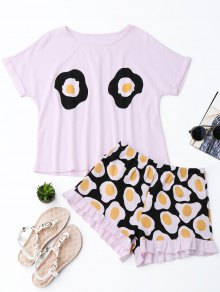 Fried Egg Print T-Shirt with Shorts Loungewear