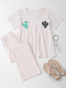 Cactus Striped Top With Pants Loungewear - White L