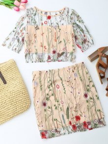 Floral Embroidered See Through Top And A-Line Mini Skirt - Floral L