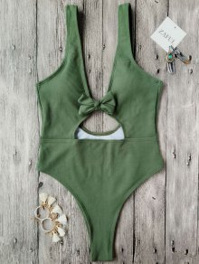Bowknot Textured High Cut One Piece Swimsuit