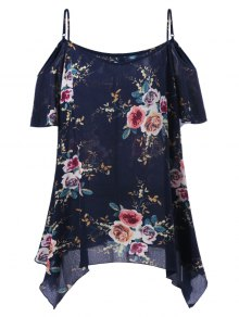 Plus Size Dew Shoulder Tiny Floral Blouse - Black Blue 5xl