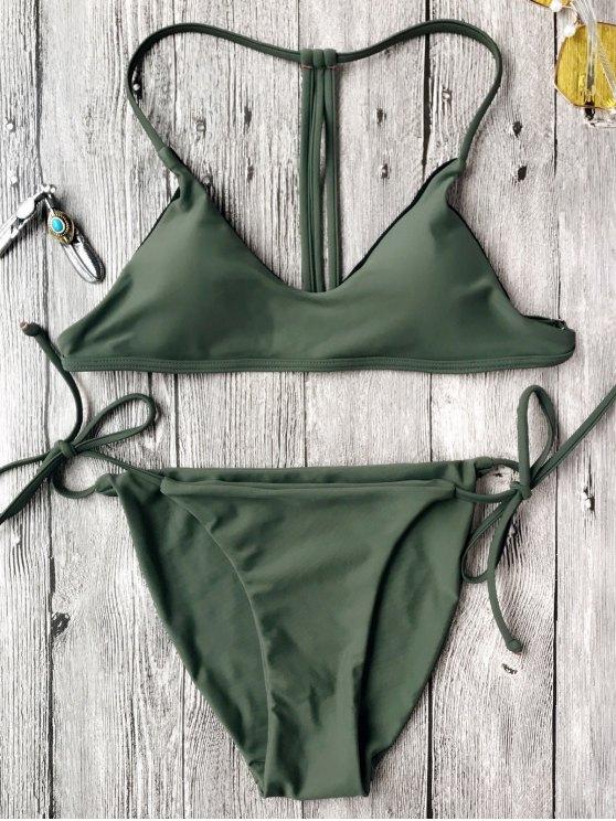 T Ensemble de bikini à cordes Bralette - Vert S