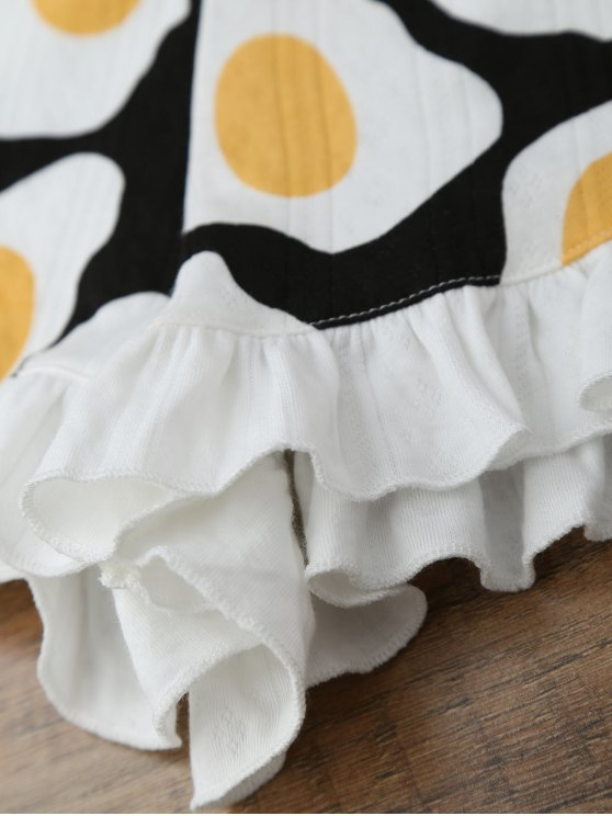 Fried Egg Print T-Shirt with Shorts Loungewear - WHITE M Mobile