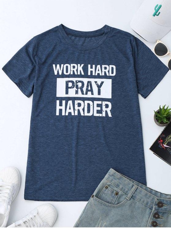 Camiseta del gráfico de la impresión del lema del cuello de equipo - Azul XL