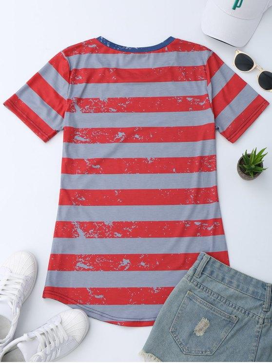 Pocket Patriotic America Flag T-Shirt - BLUE XL Mobile