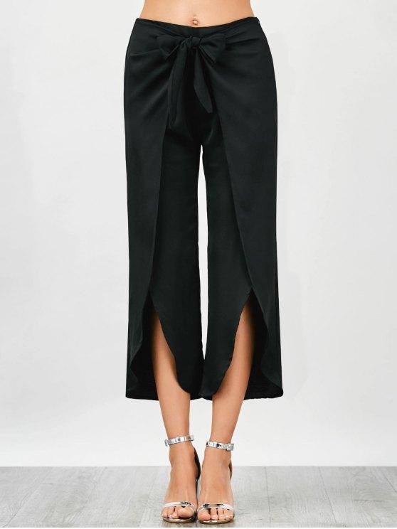 lady Wrap Slit Bowknot Pants - BLACK S