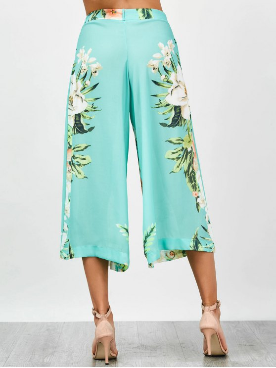 High Waisted Chiffon Floral Wide Leg Pants - FLORAL M Mobile