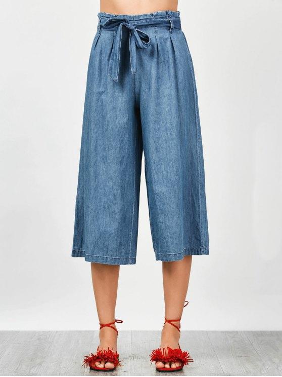 outfits Tencel Bowknot Wide Leng Capri Pants - DENIM BLUE L