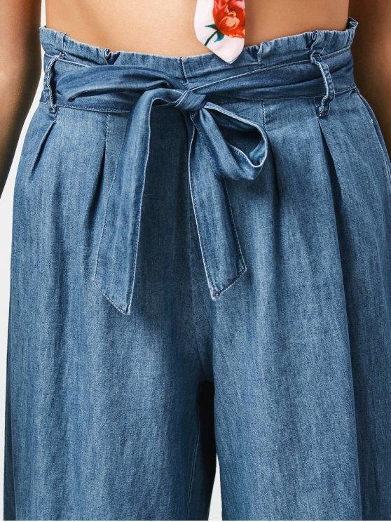 Tencel Bowknot Wide Leng Capri Pants - DENIM BLUE M Mobile