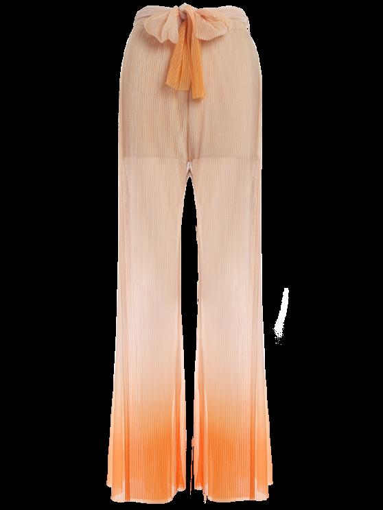 Surplice Slit Shiny Wide Leg Pants - ORANGE L Mobile