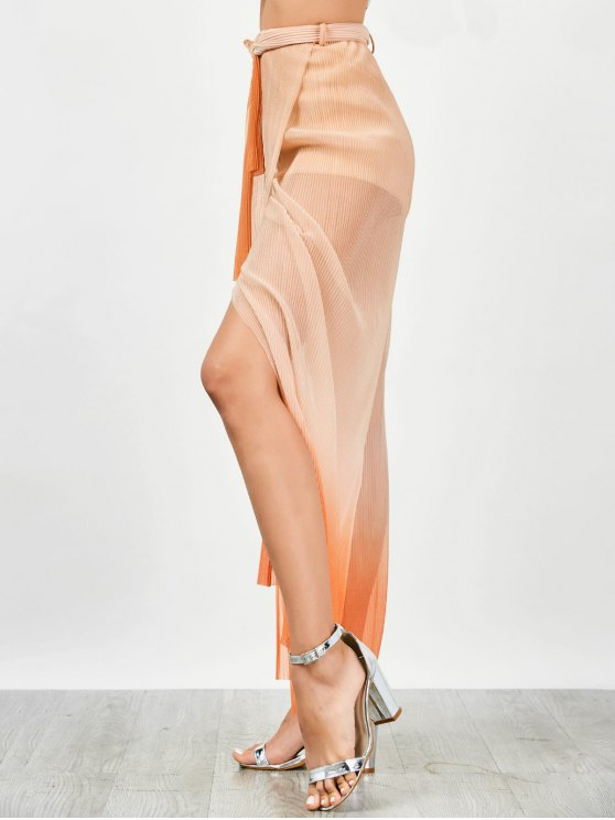 Surplice Slit Shiny Wide Leg Pants - ORANGE M Mobile