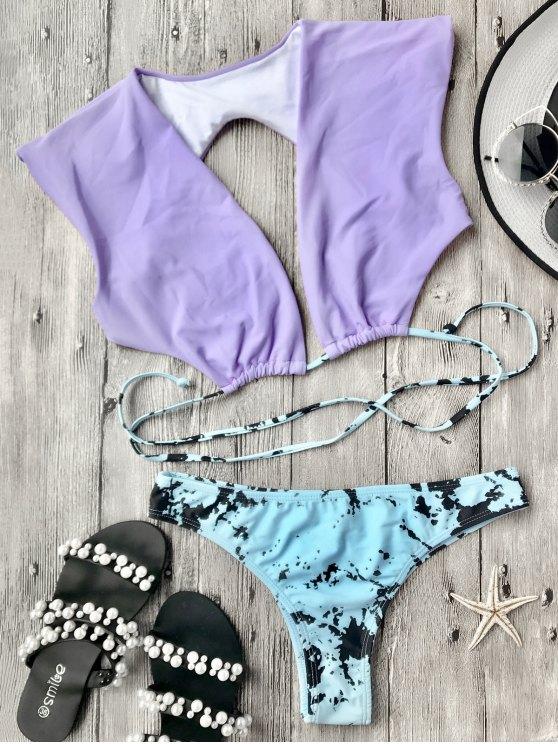 women Plunge Crop Bikini Top and Tie Dye Bottoms - PURPLE M