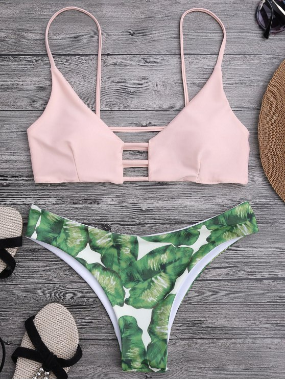 Bikini con Estampado de Palma con Detalle Escotado de Escalera - Rosado Claro S