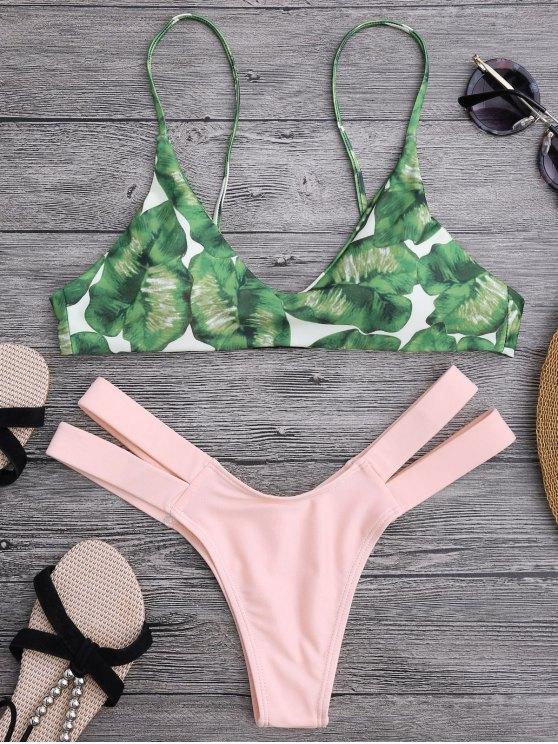 hot Palm Tree Bikini Top and Bandage Swim Bottoms - SHALLOW PINK S
