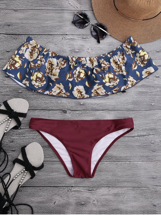 Off The Shoulder Overlay Floral Bikini - Bourgogne S