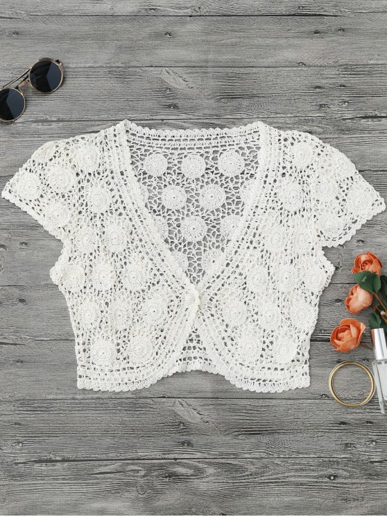 One Button Plunging Neck Crochet Cover Up - Blanc M