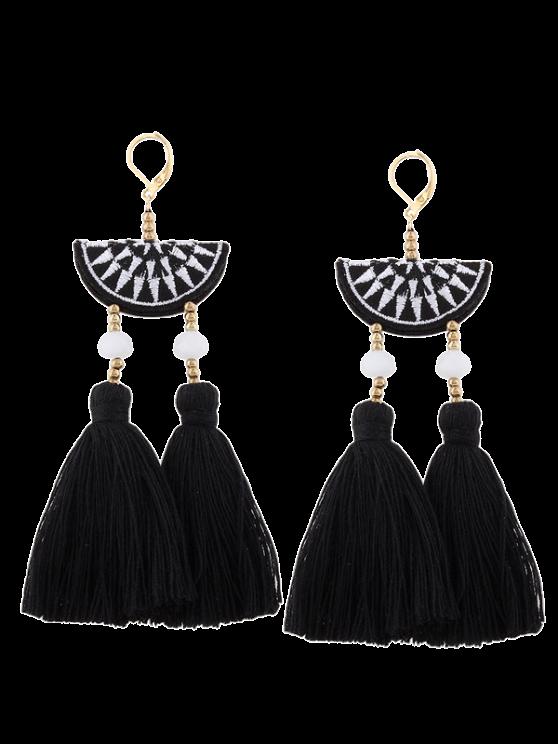 fancy Geometric Embroidery Beads Ethnic Tassel Earrings - BLACK