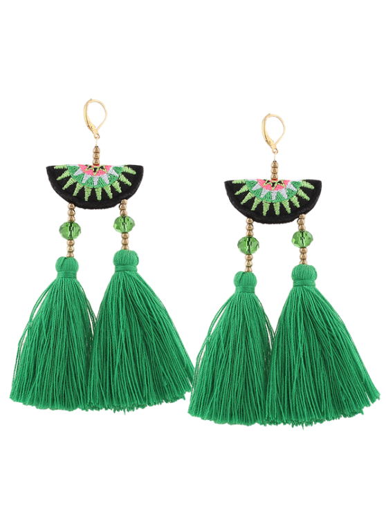 sale Geometric Embroidery Beads Ethnic Tassel Earrings - GREEN