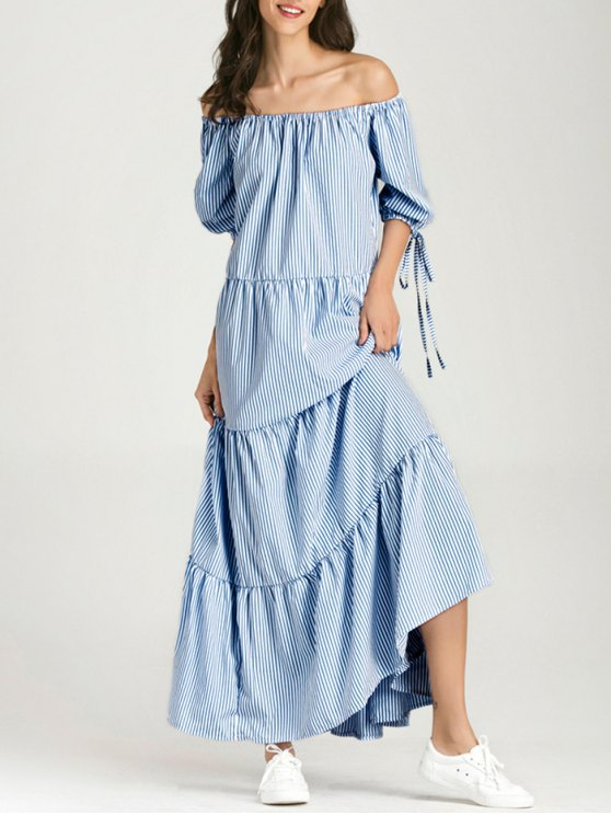 buy Off The Shoulder Striped Maxi Dress - BLUE STRIPE S