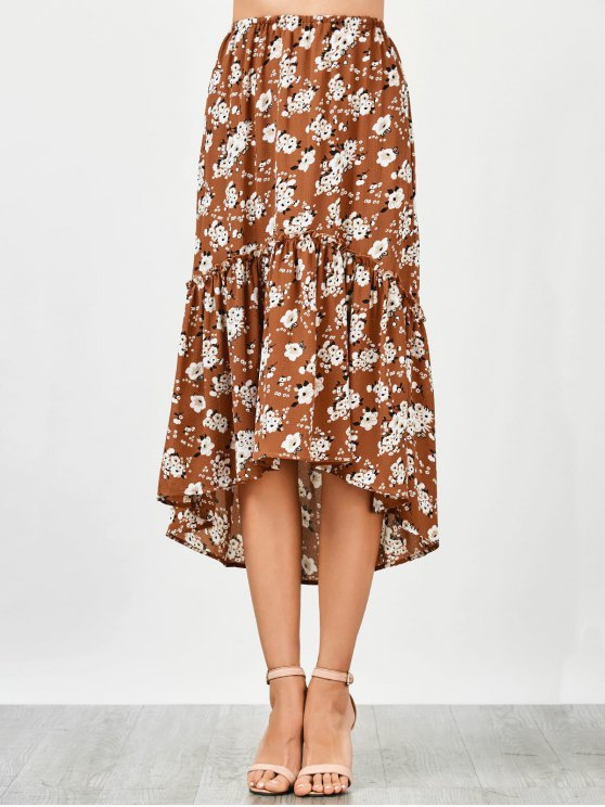 Ruffles playa asimétrica falda media - Floral S