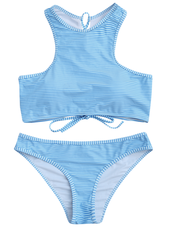 High Neck Stripe Lace Up Bikini - LIGHT BLUE M Mobile