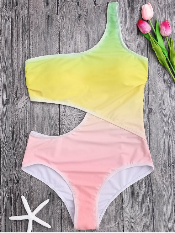 One Shoulder Ombre One Piece Swimsuit - Jaune XL