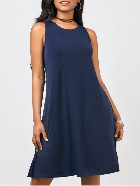 Casual A-Line robe de longueur au genou - Bleu Violet XL