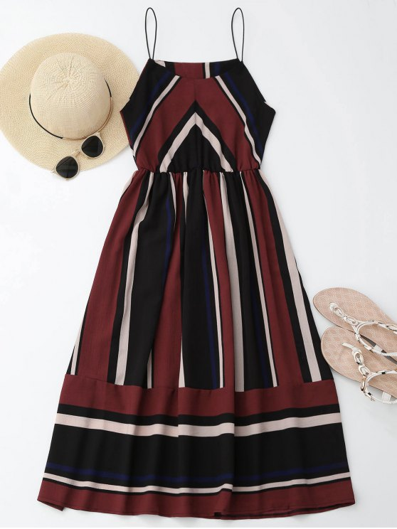 Mini Vestido de Sol de Multi-rayas con Tirantes Finos - Vino Rojo XL