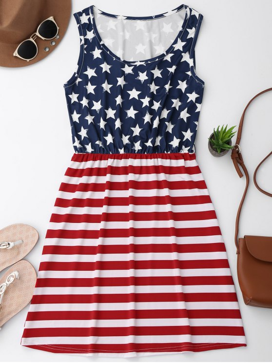 Vestido patriótico de la bandera americana de la cintura elástico - ROJO CON BLANCO XL