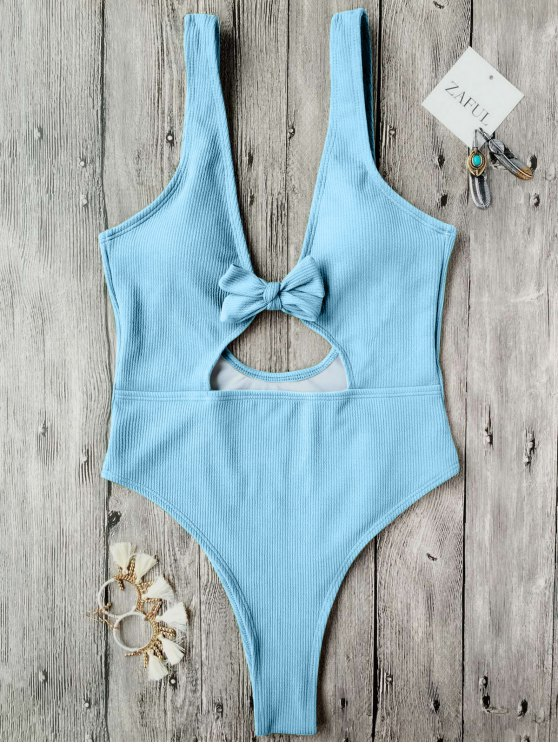 women Bowknot Textured High Cut One Piece Swimsuit - LIGHT BLUE S