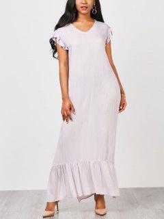 على التوالي عارضة الكشكشة فستان ماكسي - ضوء ارجواني Xl