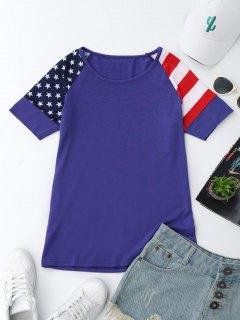 Raglan Sleeve Patriotic American Flag T-Shirt - Blue Xl