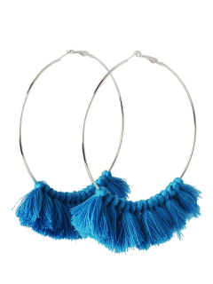 Metal Circle Tassels Hoop Earrings - Blue