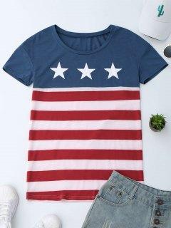 T-Shirt Imprimé Drapeau Américain  - L