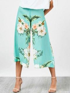 High Waisted Chiffon Floral Wide Leg Pants - Floral L