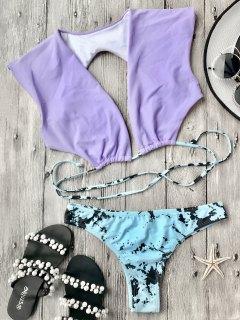 Plunge Crop Bikini Top And Tie Dye Bottoms - Purple S