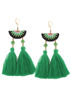 Geometric Embroidery Beads Ethnic Tassel Earrings - Green