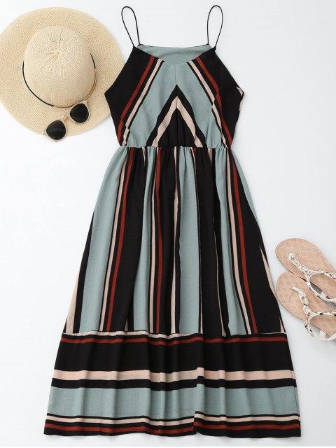 women's Multi Stripe Cami Midi Sundress - LIGHT BLUE S Mobile
